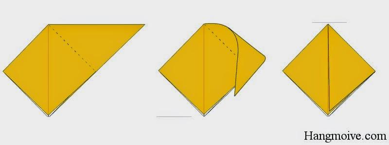 Bước 4: Lật ngược tờ giấy lại phía sau, gấp hình tam giác cân ngược sao cho góc bên phải của nó chạm vào góc dưới cùng của tứ giác ta được một hình tứ giác đều như hình dưới. Sau đó ta lại mở ra, mục đích để tạo nếp gấp.
