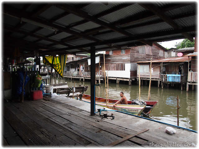 Wooden houses along river in Minburi