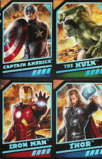 Front of trading cards included with Avengers 2012 birthday card from Hallmark