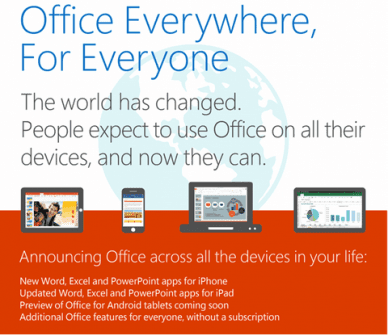 microsoft office for iphone ipad and android tablets free download