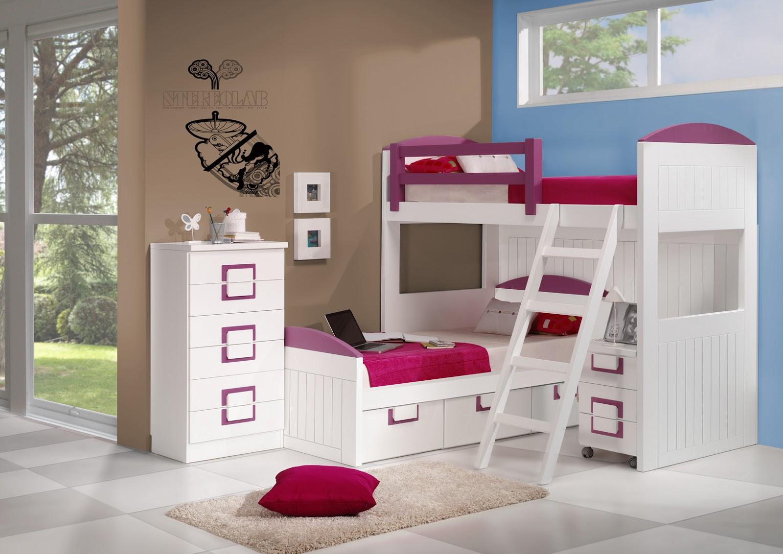 Camas cruzadas lacadas blanca y rosa - Habitacion con literas para ninos ...