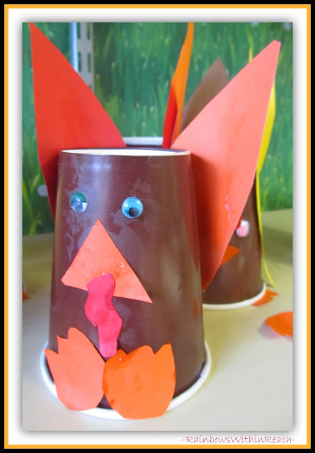 Preschool Thanksgiving Craft: Turkey from Paper Cup via RainbowsWithinReach