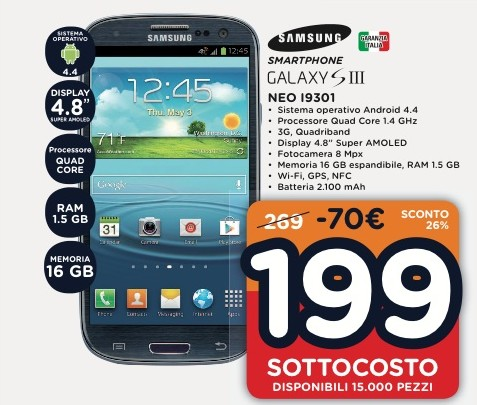IN offerta a prezzo sottocosto lo smartphone Kitkat Samsung Galaxy S3 Neo a 199 euro