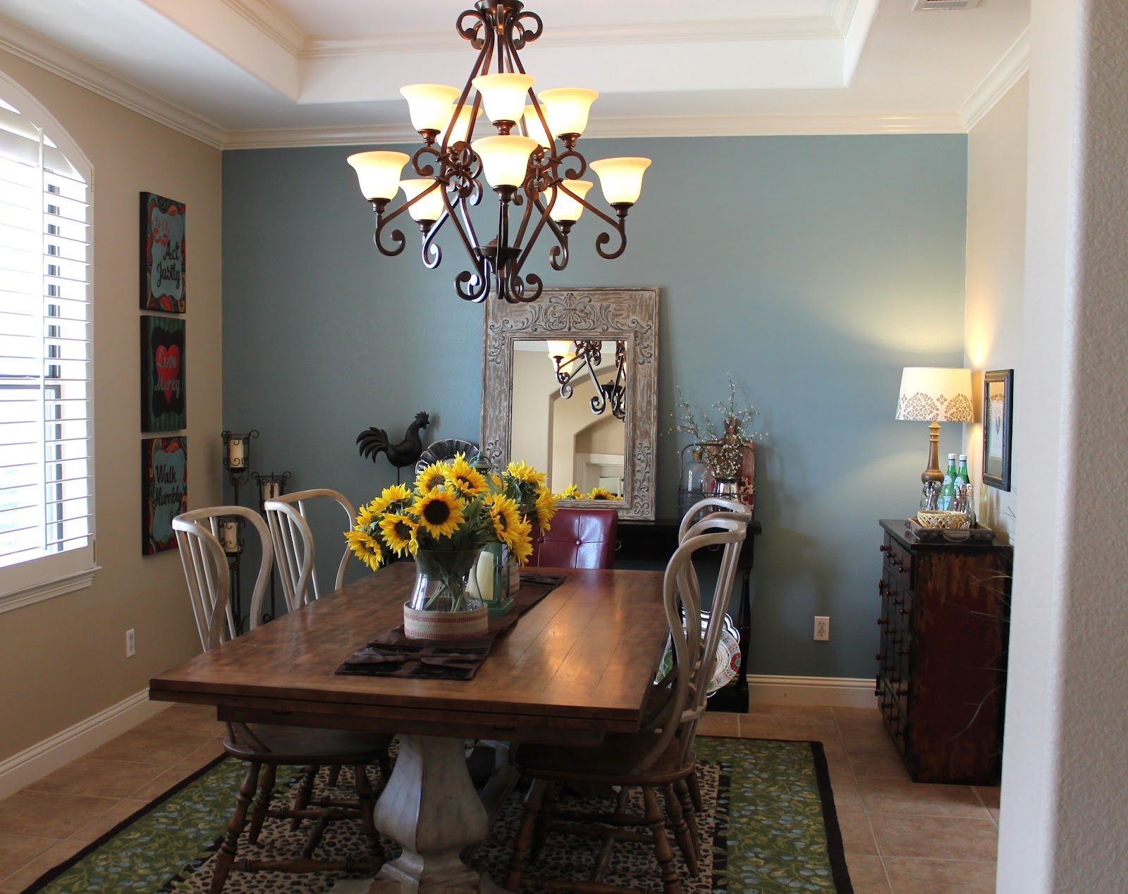 My precious family my finished dining room for Light blue dining room ideas