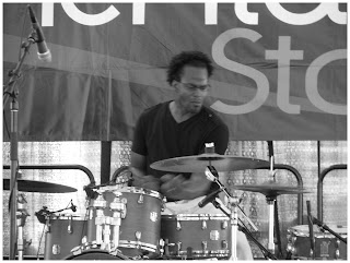 Kobie Watkins - Drums - Spin Quartet - 2015 Chicago Jazz Festival   Photograph by Tom Bowser