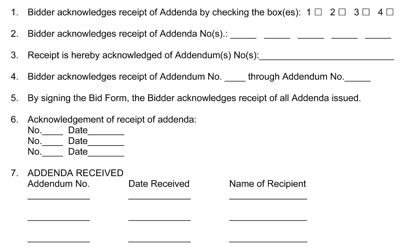 Mike purdys public contracting blog how should addenda be obtain the bidders acknowledgement of addenda receipt some of which are better than others the following represent seven basic models for how public altavistaventures Images