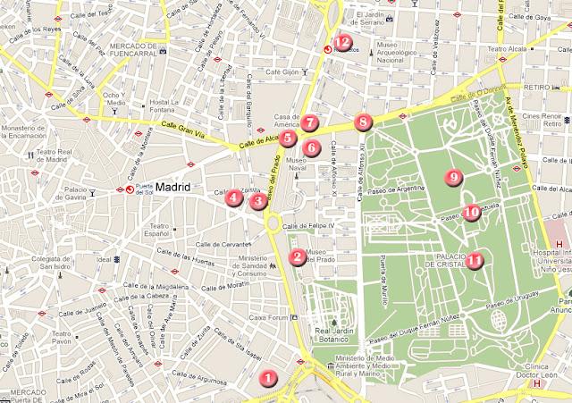 Mapa de la ruta por Madrid, día2