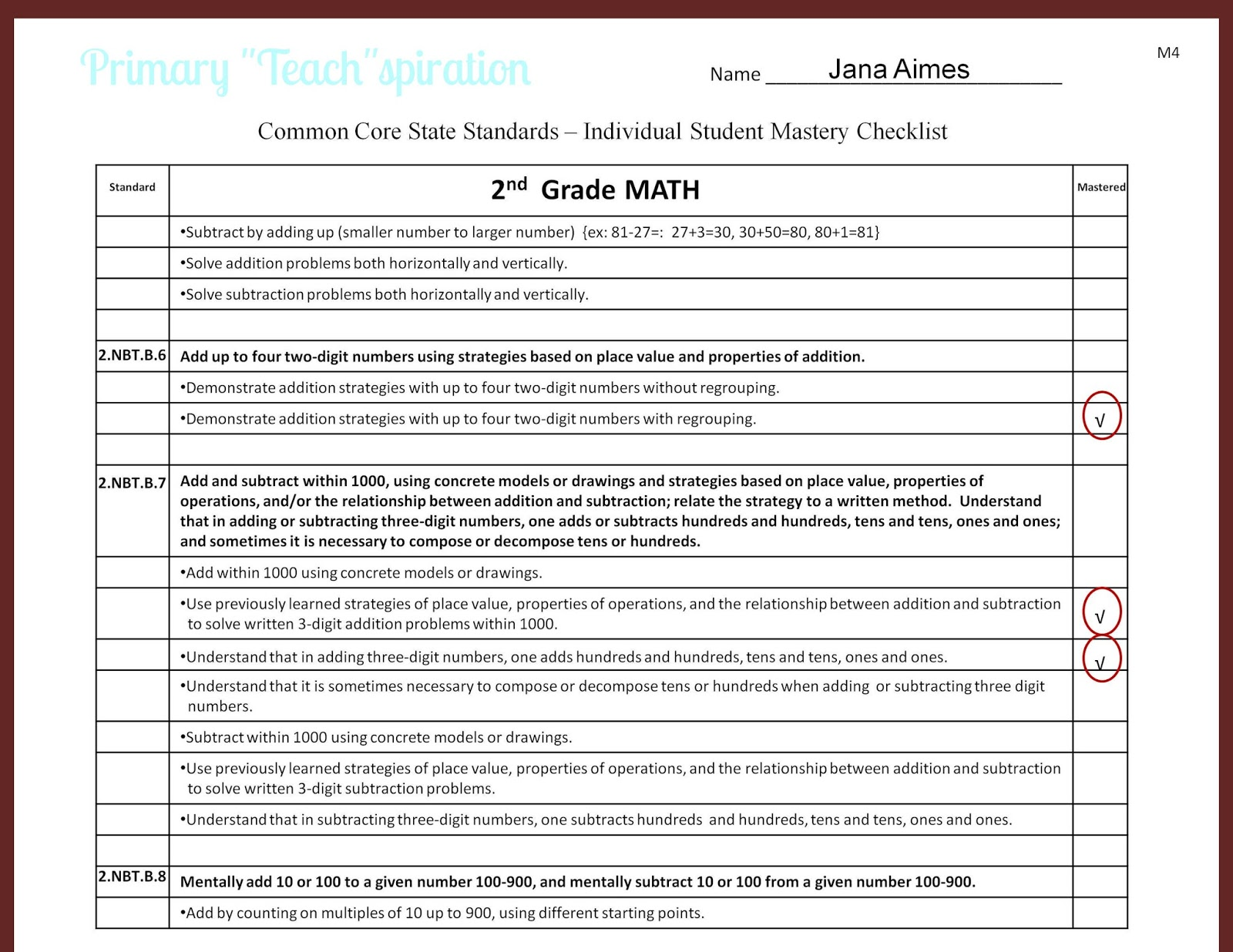 Tracking Student Progress and Mastery - Primary Teachspiration