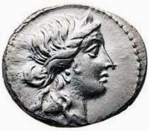 Image of a Julius Caesar Denarius with Ceres portrait