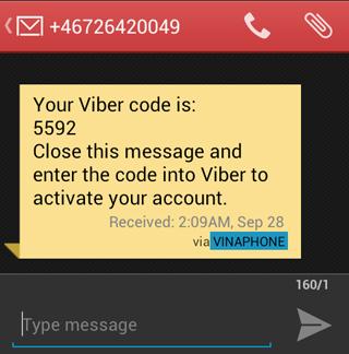 Tin nhắn kích hoạt viber