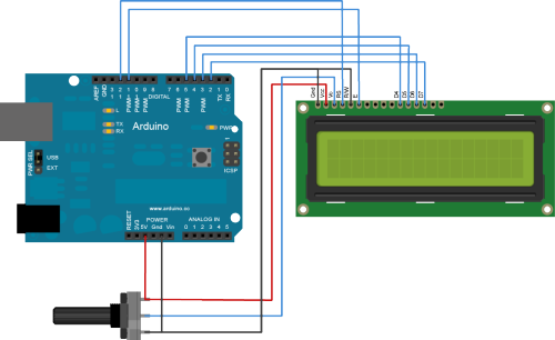 Mudahnya Bikin Hello World Di Lcd 16x2 Dengan Arduino further Lcd Display Module further  likewise Interface An Lcd With An Arduino moreover Sfe Arduino  patible Serial Enabled Lcd Kit. on 16x2 lcd pinout