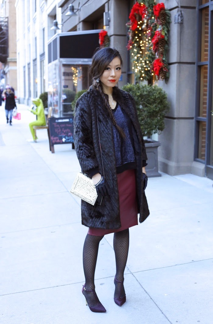 Sam Edelman Smithfield Tstrap heels, Burgundy, 31phillip Lim bag, asos burgundy skirt, fish tail braid, new hair, ted baker faux fur coat, tibi pullover, asos gloves, baublebar tiffany tear drop earrings, holiday outfit ideas, holiday sale, on sale, fashion blog, new york city