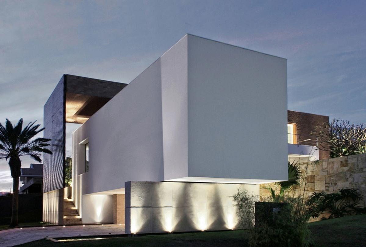 Fachadas de casas modernas com paisagismo e ilumina o decor salteado blog de decora o e - Architecturen volumes ...