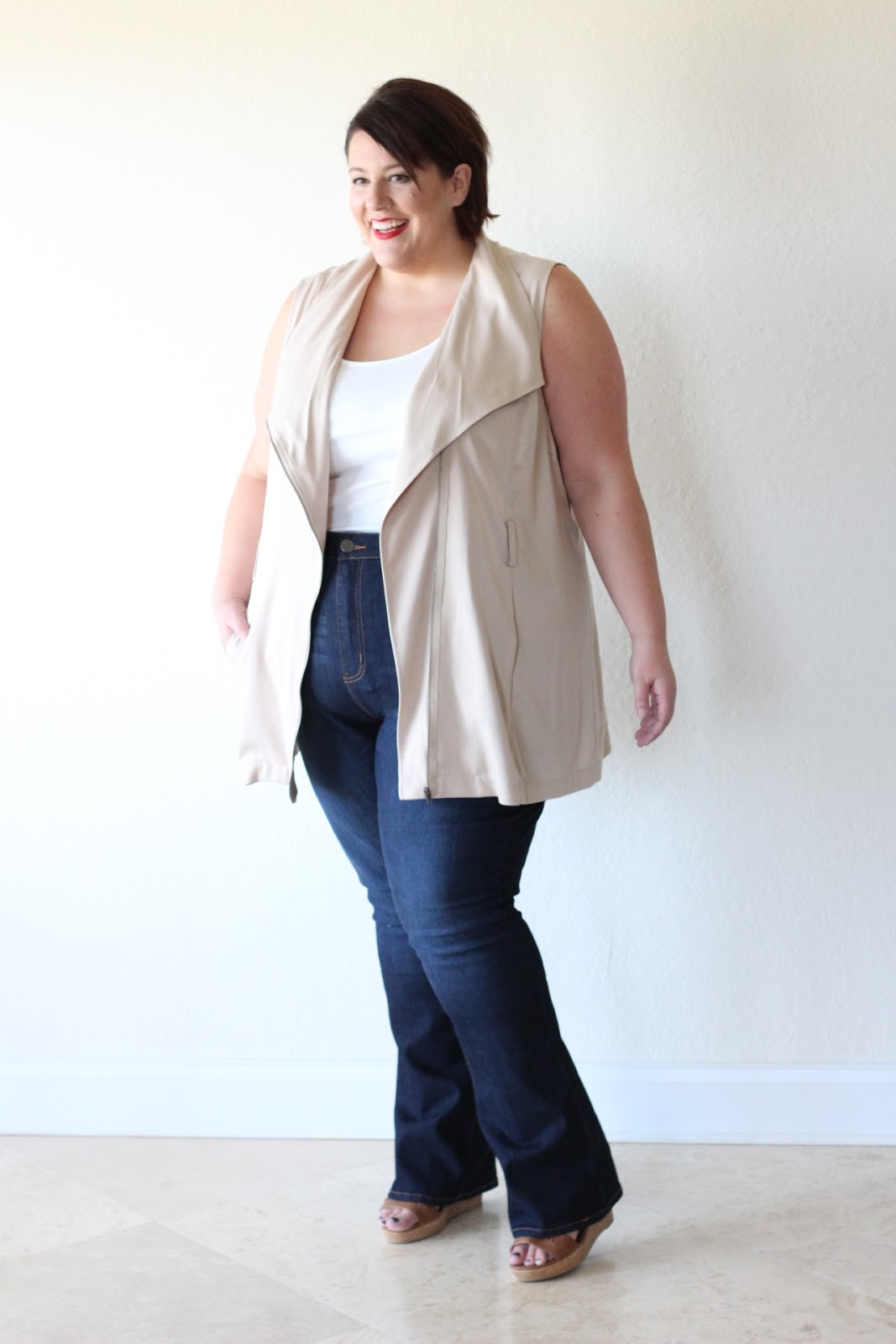 jessica kane how to style wide leg flare plus size denim jean
