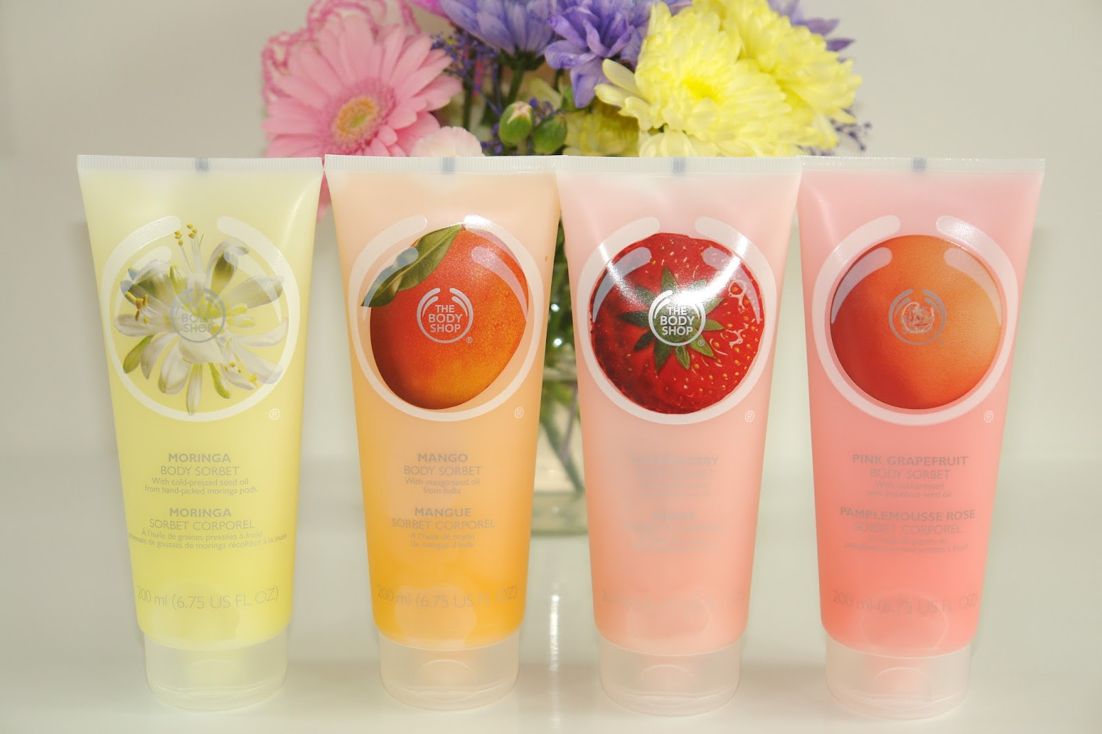 The Body Shop Body Sorbets, body care, UK blogger, beauty blogger, top UK blogger, The Body Shop, beauty, review, The Body Shop Body Sorbet Mango, The Body Shop Body Sorbet Strawberry, The Body Shop Body Sorbet Pink Grapefruit, The Body Shop Body Sorbet Satsuma, The Body Shop Body Sorbet Moringa