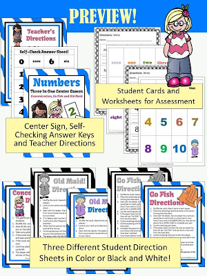 Fern Smith's Numbers Math Center Card Games!