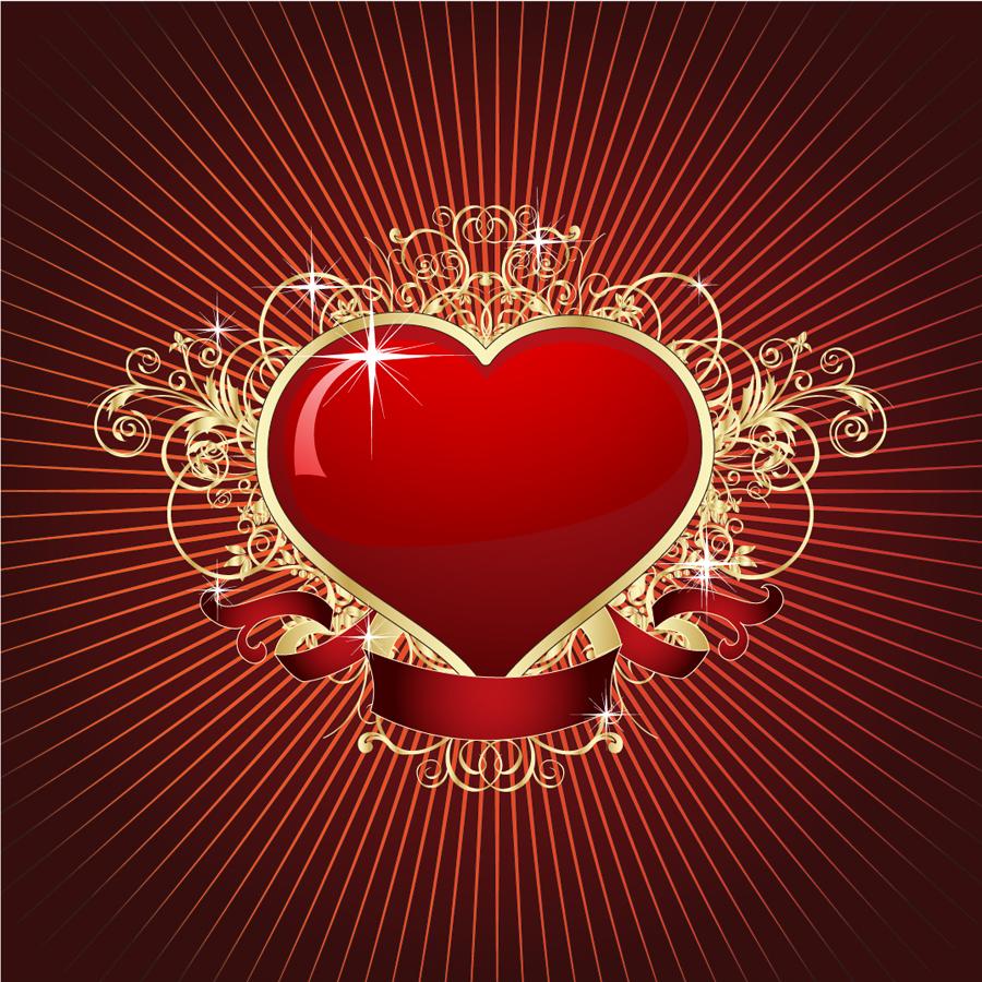 豪華なバレンタインデー向け背景 heart love pattern golden romance イラスト素材   ai eps イラストレーター
