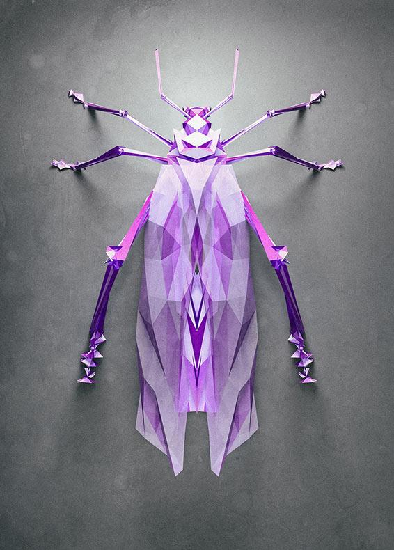 Artista imagina como serían los insectos geométricos de un planeta poligonal