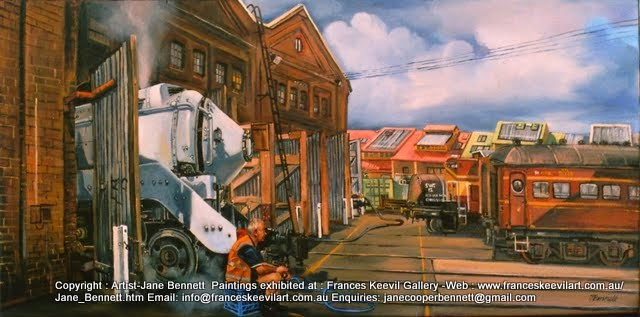 plein air oil painting of heritage steam train 3801 painted at the Large Erecting Shop, Eveleigh Railway Workshops by industrial heritage artist Jane Bennett