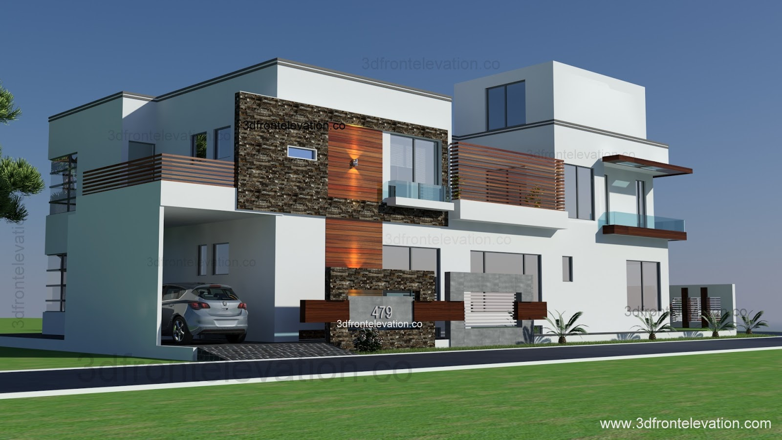 3d Front Elevation Corner House : D front elevation lahore