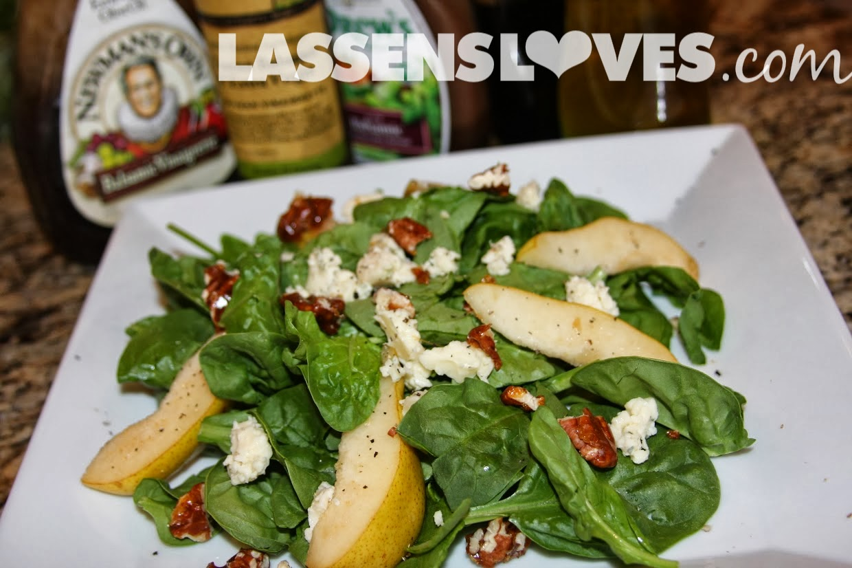 lassensloves.com, Lassens, Lassen's Organic+Bartlett+Pears, Spinach+salad, Bartlett+Pears, candied+nuts