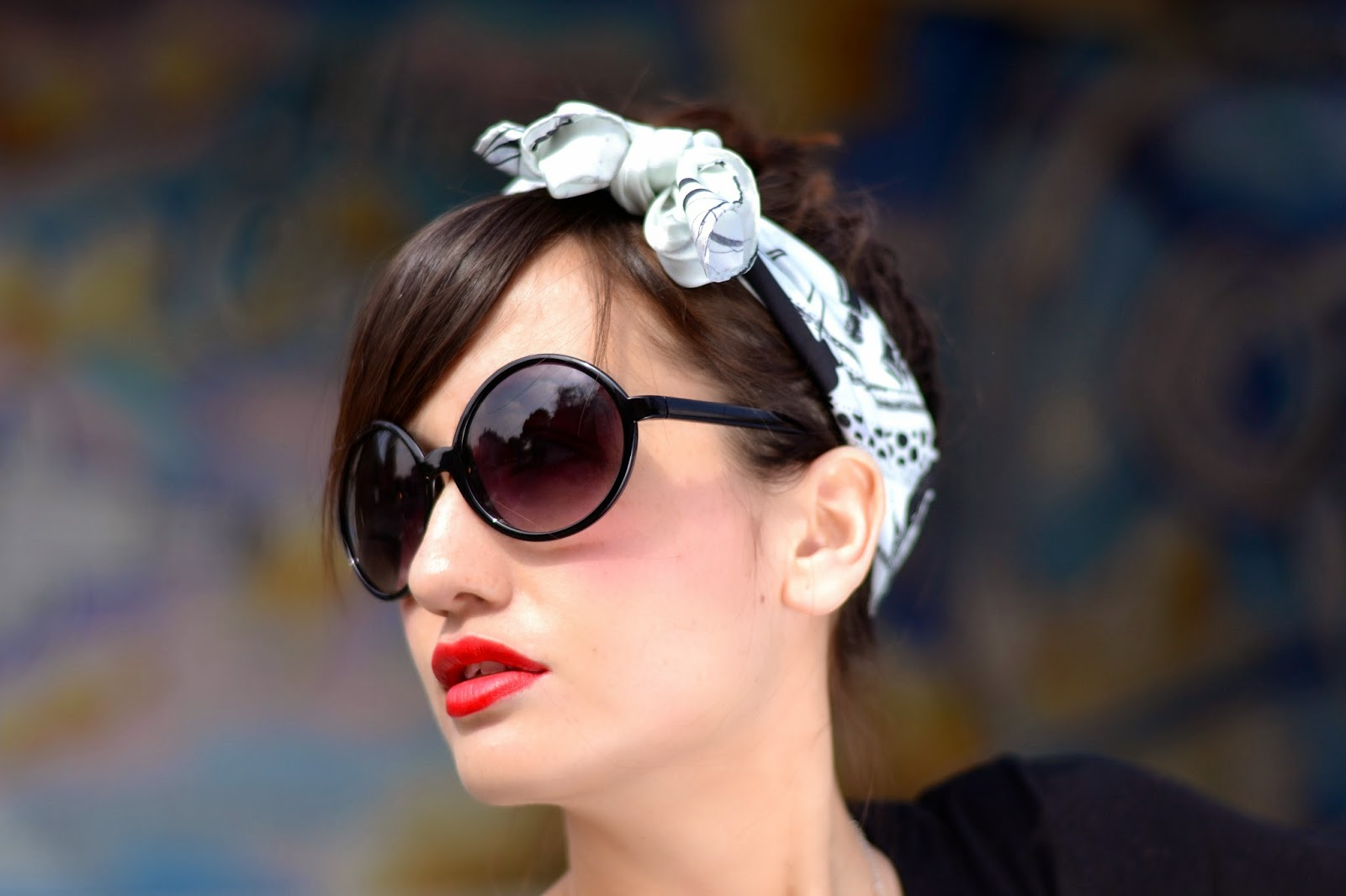 Headscarf and sunglasses