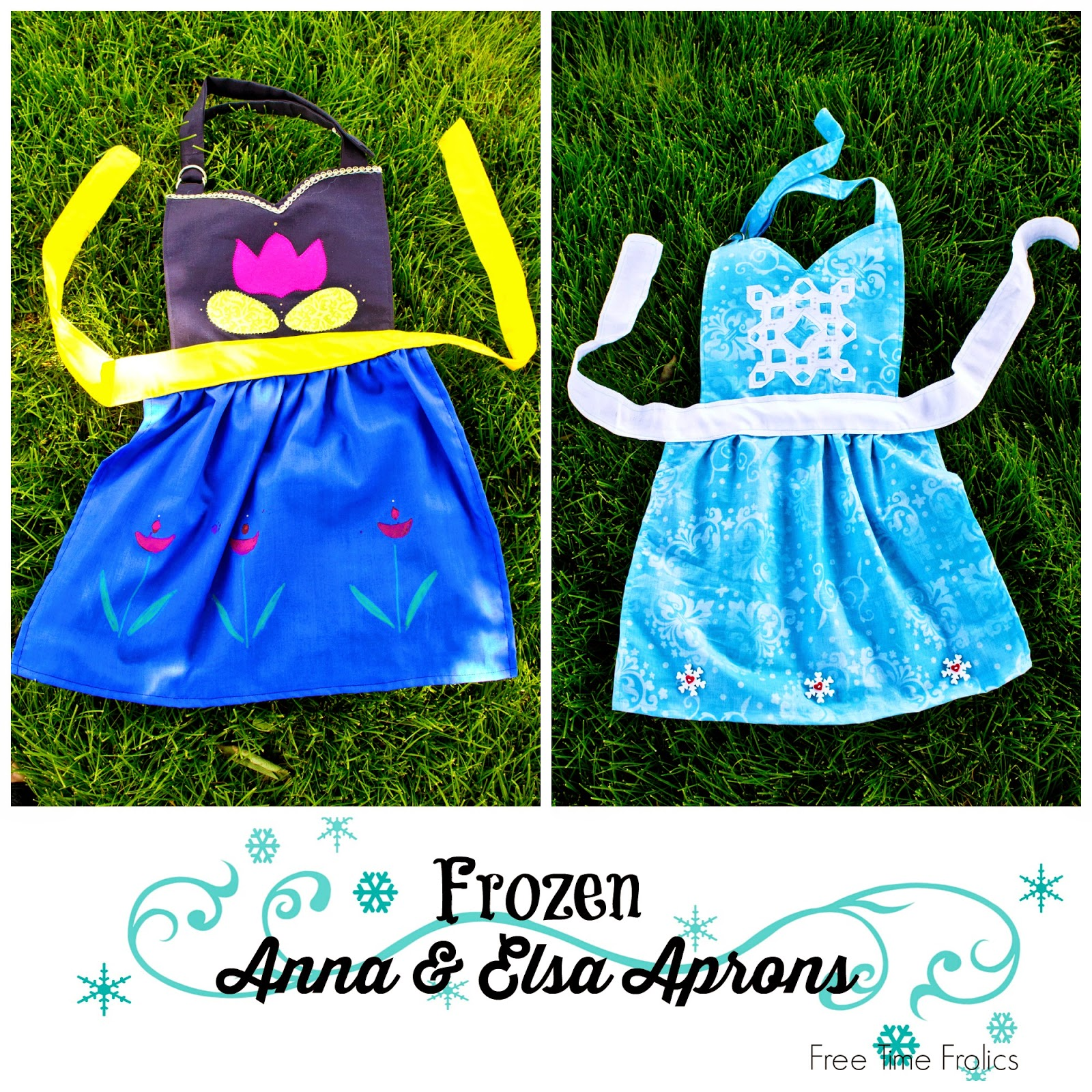 Frozen Inspired Aprons for Anna and Elsa.  Perfect for dress up or baking! www.freetimefrolics.com