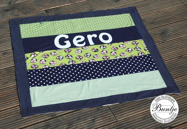 Kuscheldecke Krabbeldecke Decke Baby Name Geschenk Geburt Taufe Baumwolle Fleece blau grün Eulen handmade nähen Buntje