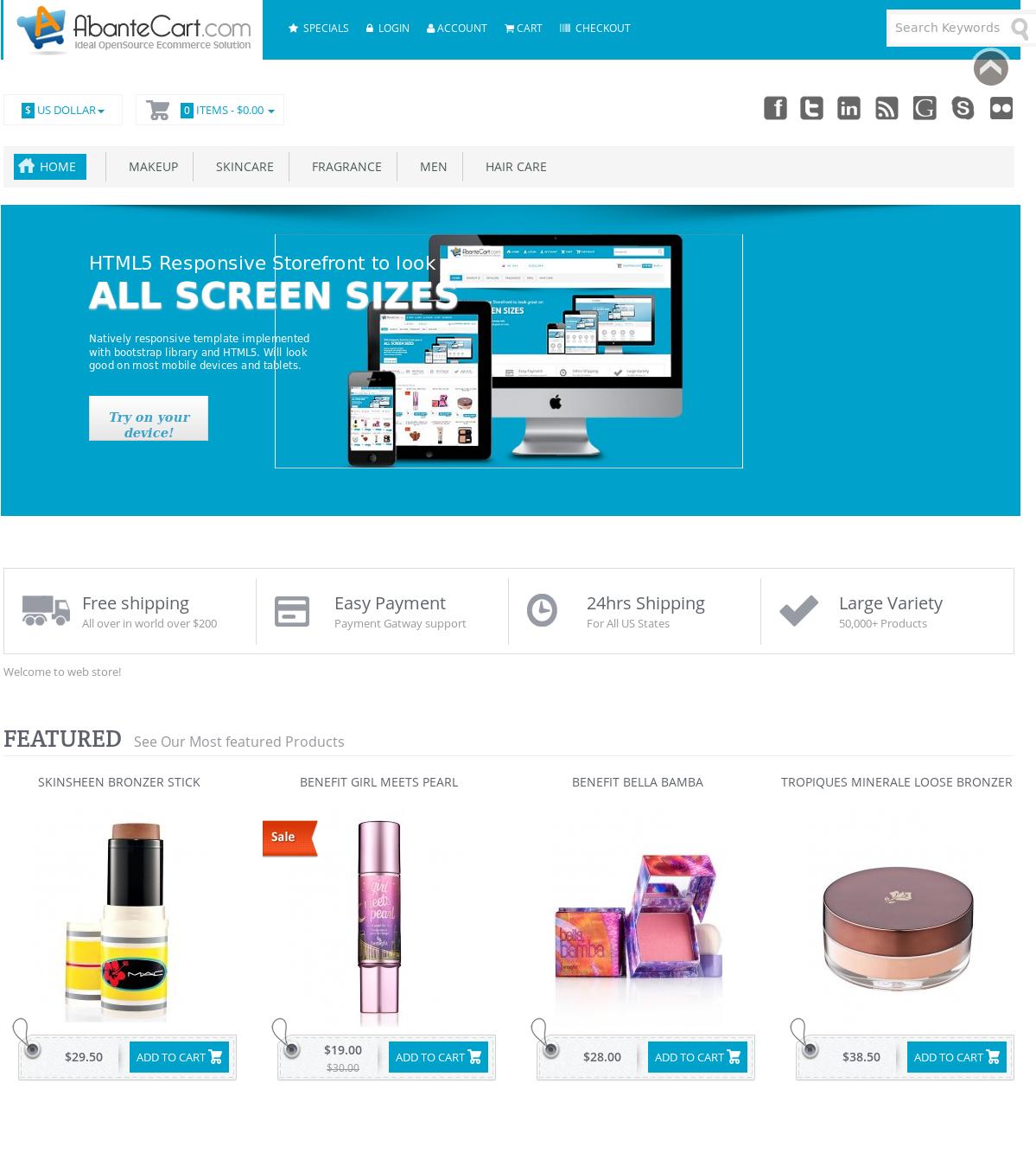 AbanteCart home page