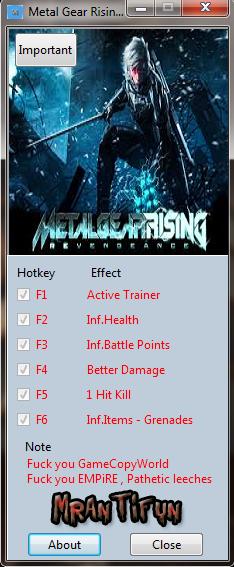 Metal Gear Rising Revengance v1.0 Trainer +5 [MrAntiFun]