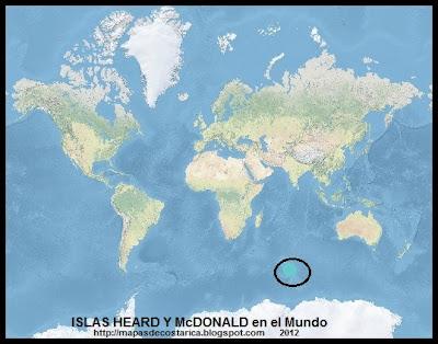 El Mundo. Ubicacion de las ISLAS HEARD Y McDONALD en el Mundo, OpenStreetMap