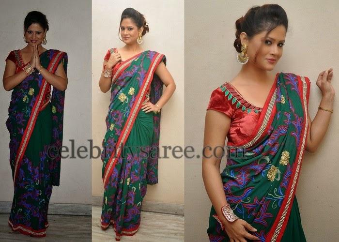 Shilpa Chakravarthy Floral Saree