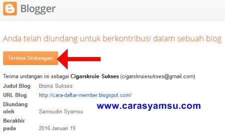 Terima Undangan dari Admin Blog Orang Lain