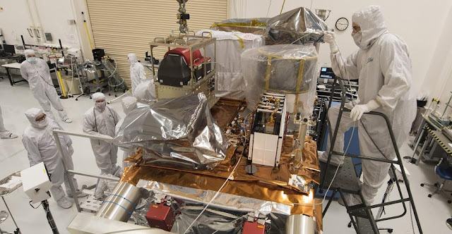 JPSS-1 has been powered-on for the first time, advancing the polar-orbiting environmental satellite toward environmental testing and delivery in 2016. Credit: Ball Aerospace