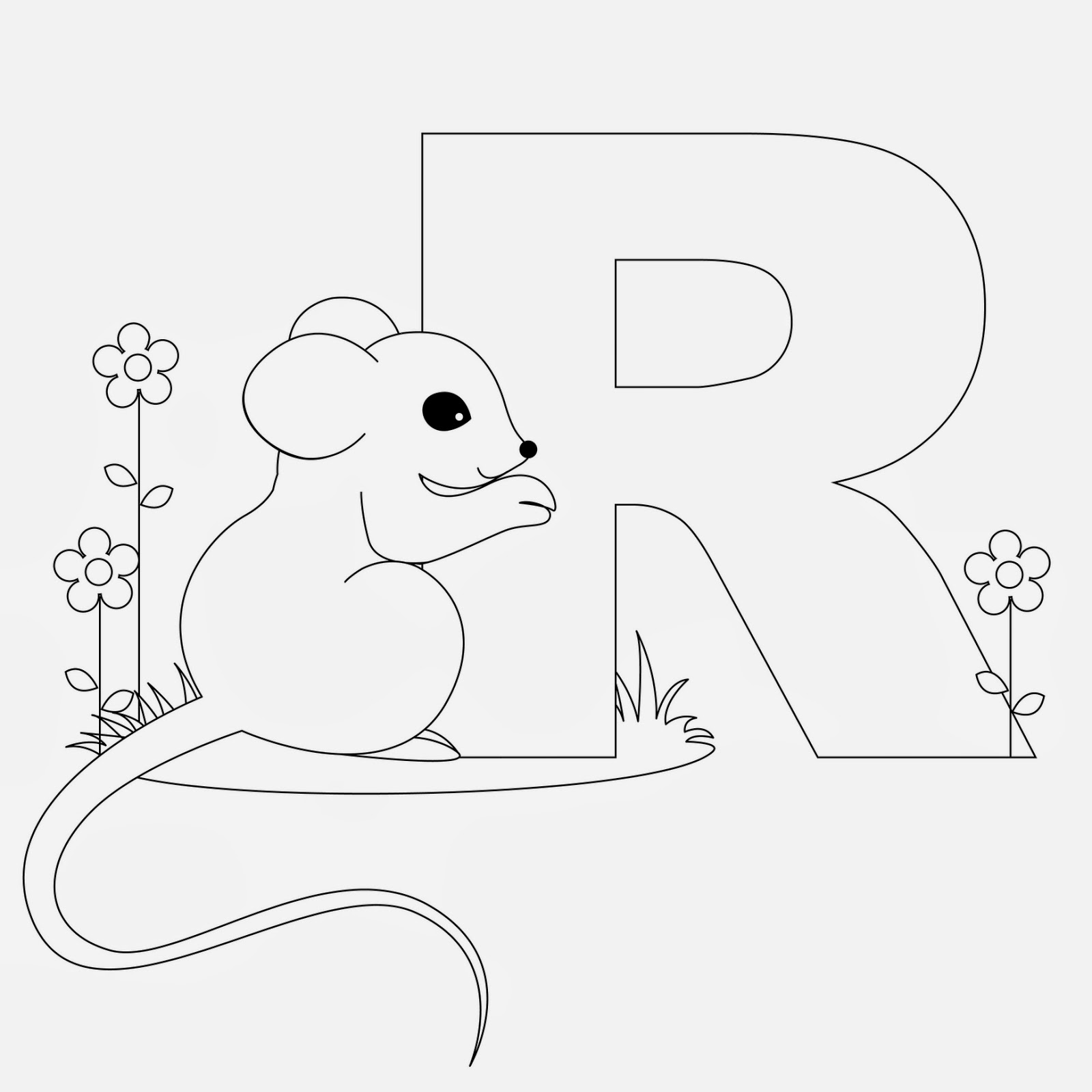 printable Alphabet Coloring Pages Rat