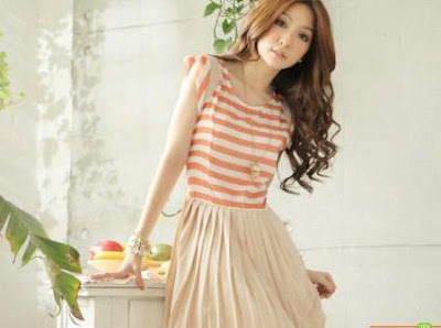 Dress garis orange Cantik