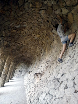 Climbing in Gaudi's Parc Guell