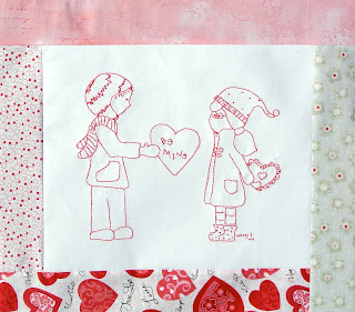 meags and me Be Mine Valentine Quilt Pattern with Embroidery