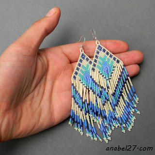 Ethnic seed bead earrings - large beaded earrings