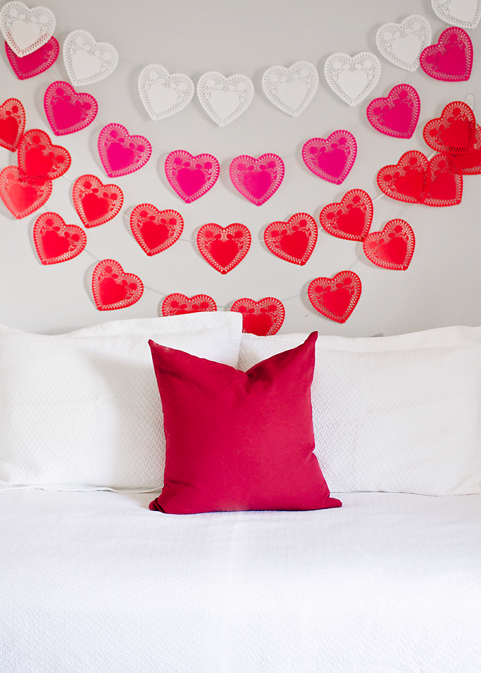 diy valentine decor photo backdrop behind the camera and d