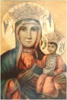obraz Madonny z dzieciątkiem, namalowany pastelami