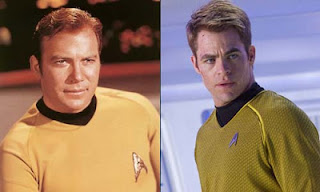 Captain Kirk William Shatner and  Chris Pine