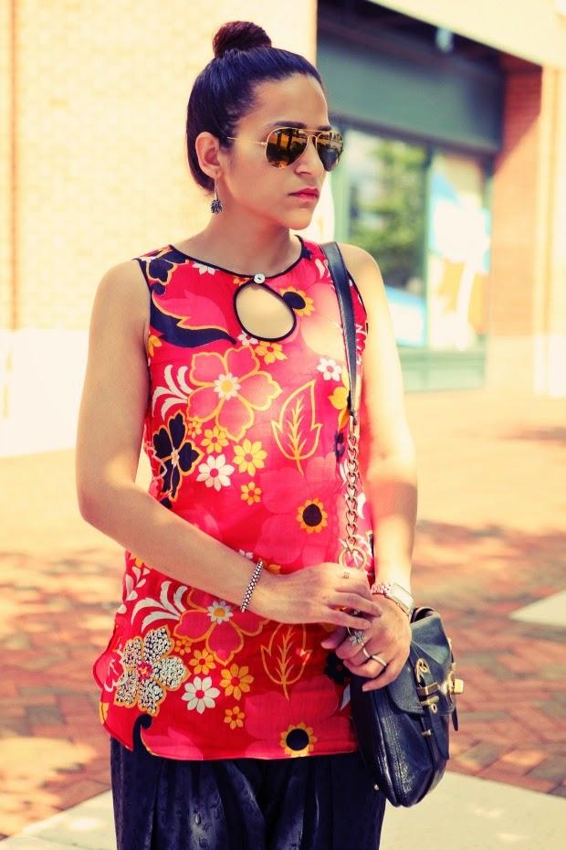 Summer Dressing, Floral Top, Salwar, Tanvii.com
