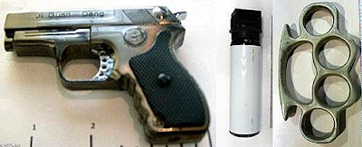 (L-R) Laser Pointer Pistol (BDL), Pepper Spray (LAX), Brass Knuckles (OAK)