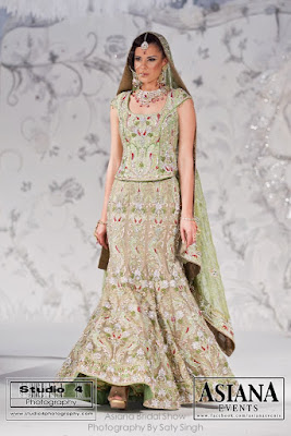 mint green bridal lengha by Ekta Solanki