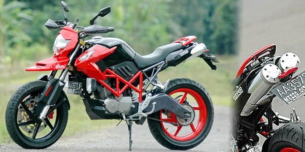 Honda Mega Pro modifies a model mix of trail and supermoto not a  title=