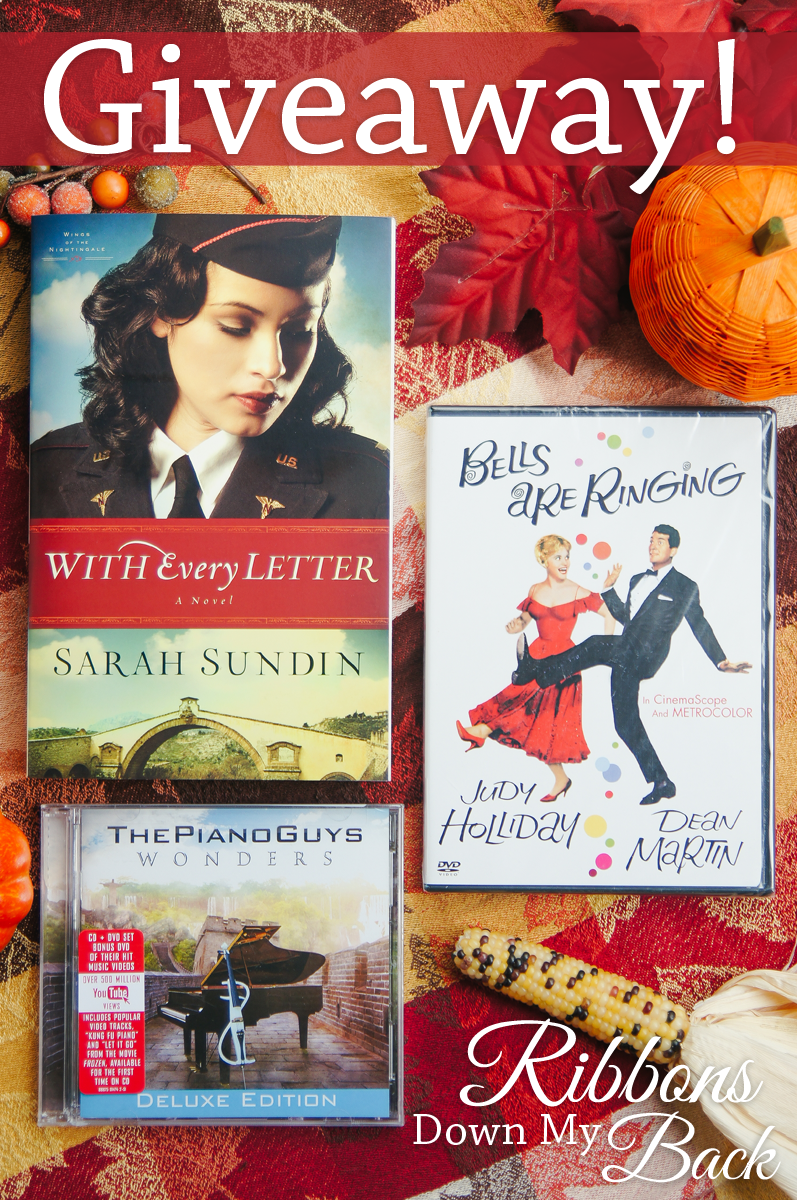 A Few of my Favorite Things GIVEAWAY on Ribbons Down My Back :: Go to the blog for a chance to win With Every Letter by Sarah Sundin, Bells are Ringing staring Judy Holliday & Dean Martin, and The Piano Guys: Wonders CD