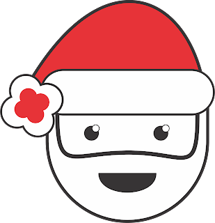 Red colour christmas santa claus funny face