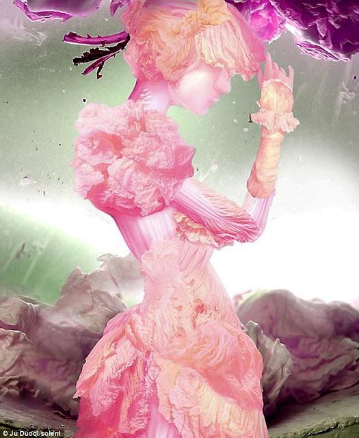 فنانة صينية تبدع في إستخدام  ورق الملفوف LEAF+ART+11