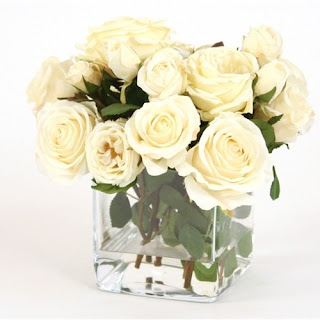 White Roses Faux Flower Arrangement